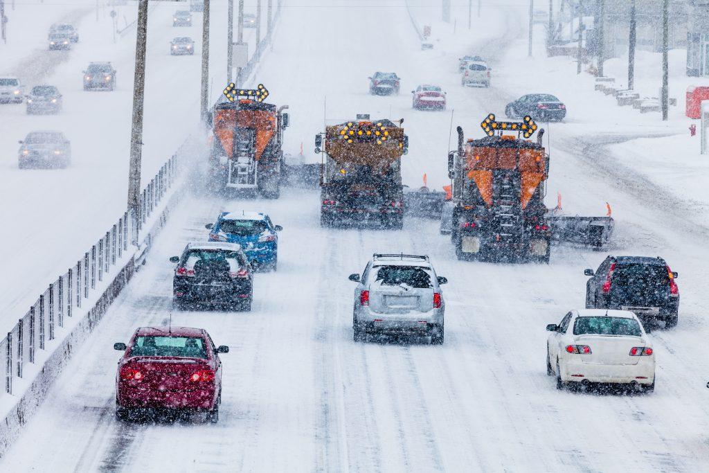 Salt Trucks on icy road